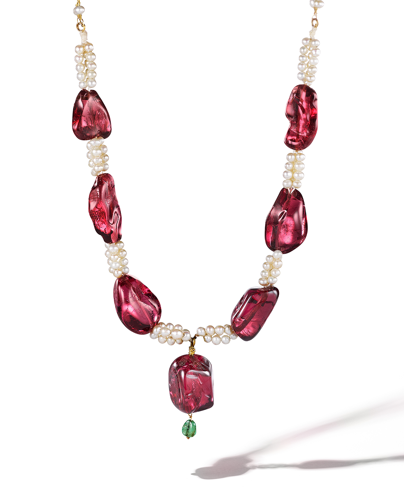 Carved-Ruby-and-Pearl-Neckalce