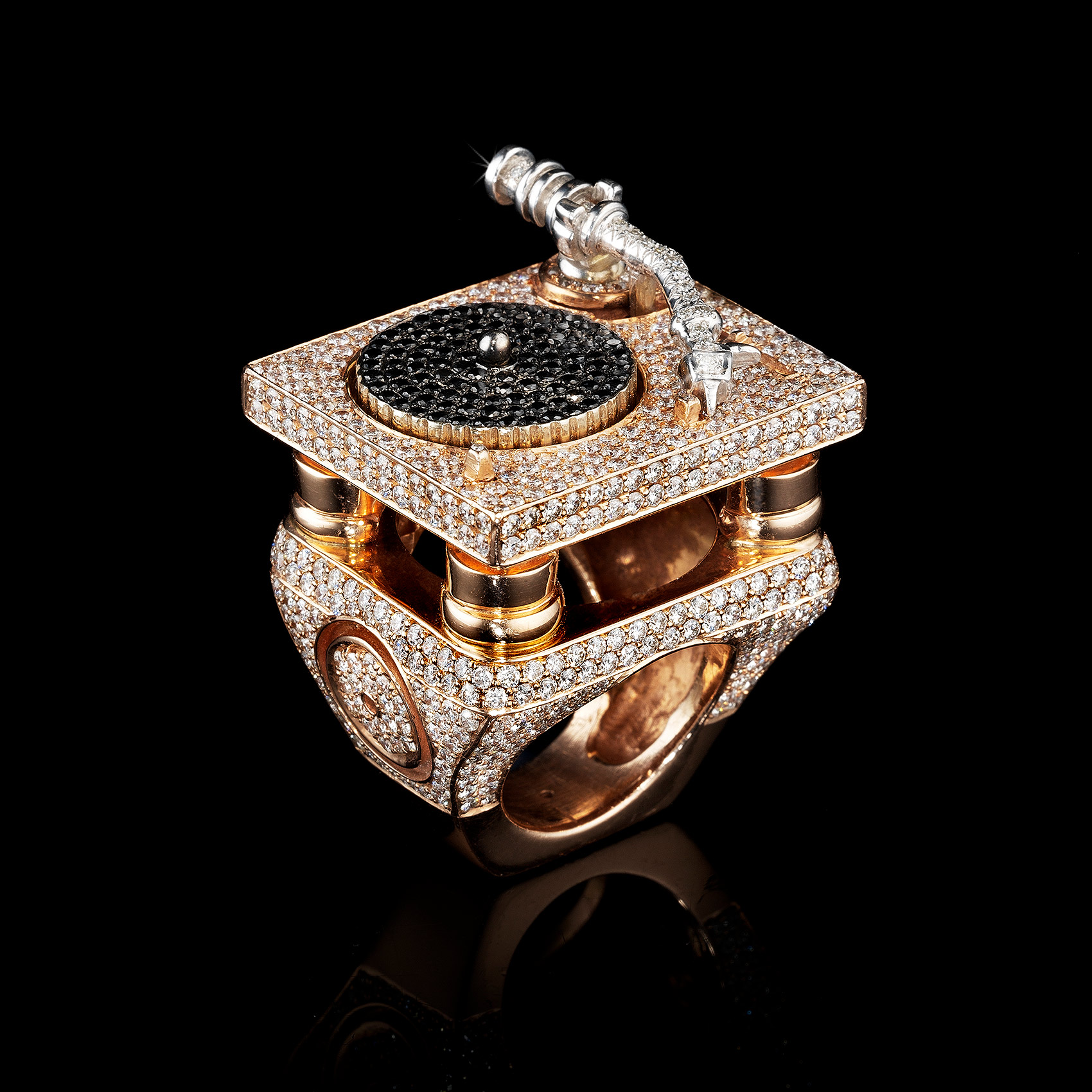 Diamond Encrusted Turntable Ring