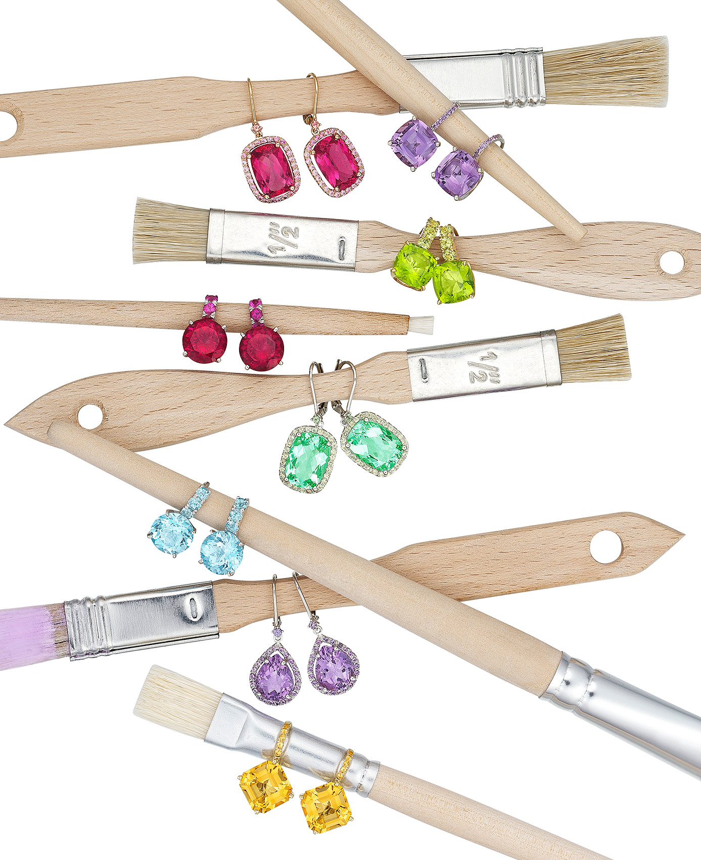 Earrings with Paintbrushes