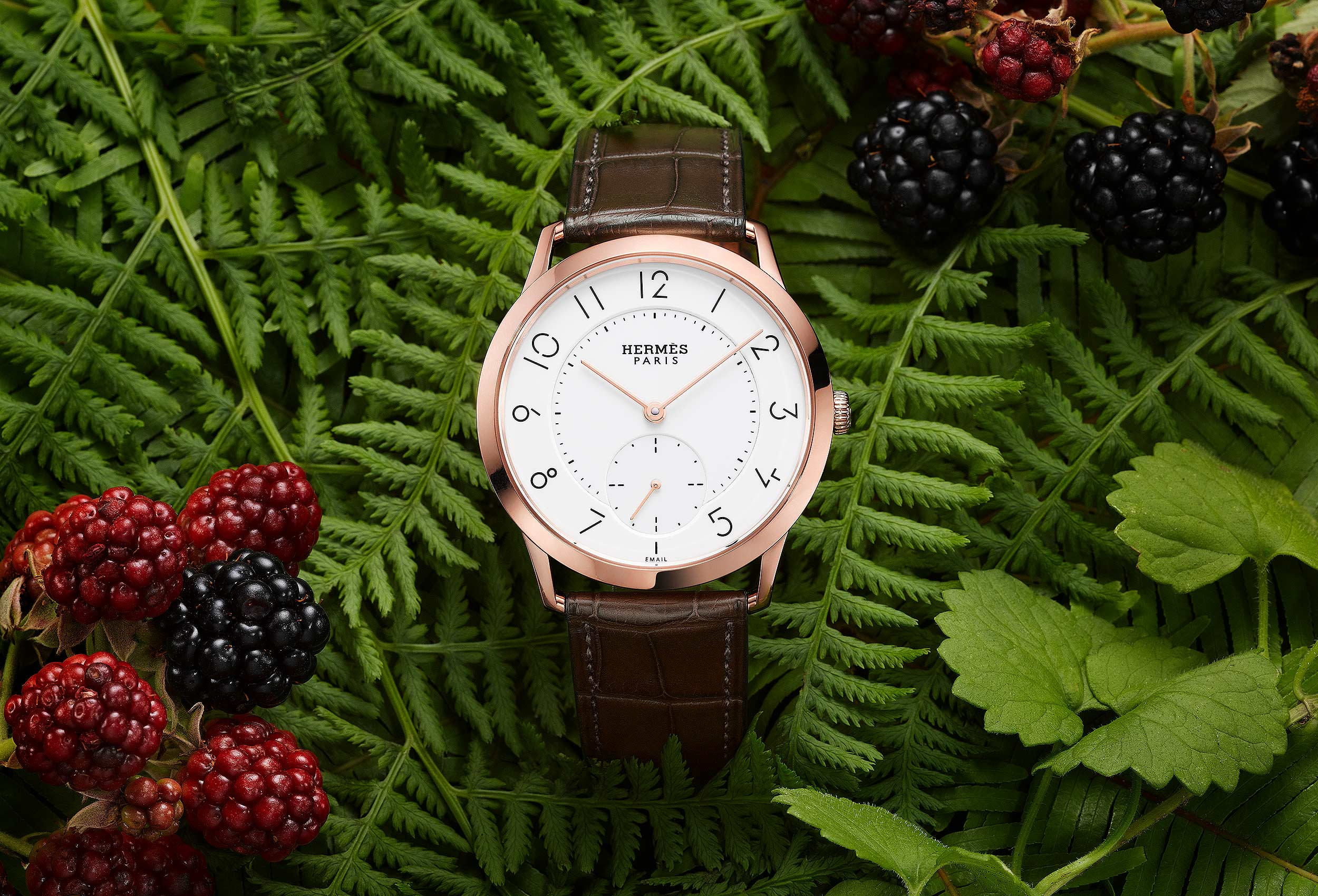 Hermes Watch with Foliage and Berries