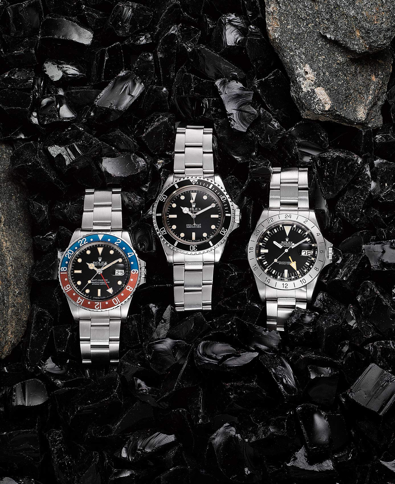 Rolex-Watches-on-Black-Carbon