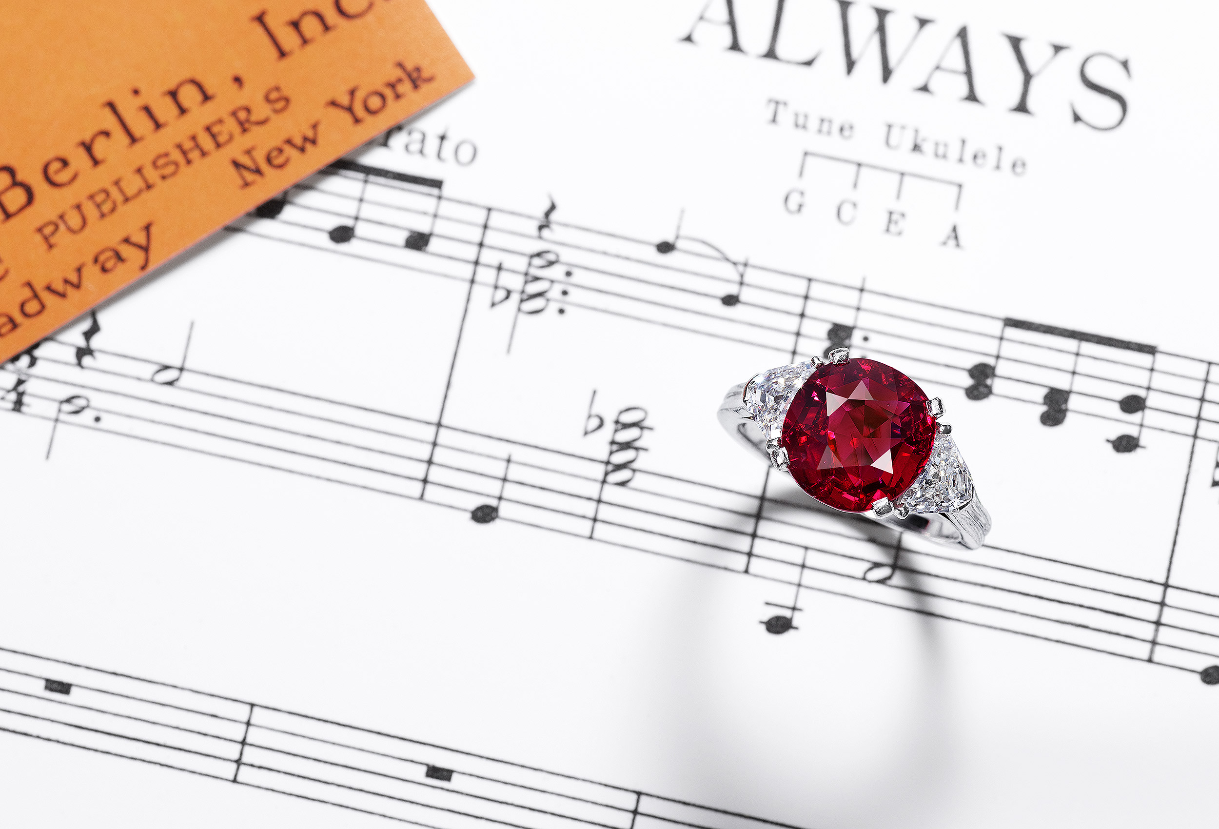 Ruby Ring with Music Sheets